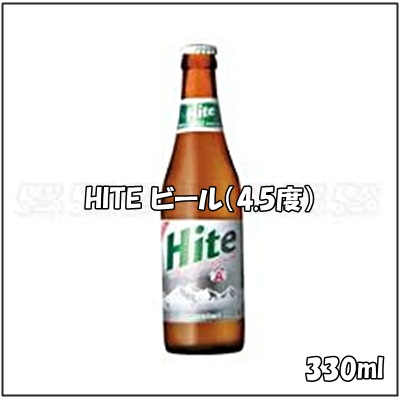 330 ml in capacity in Korea, the HITE beer (4.5% of alcohol frequency)