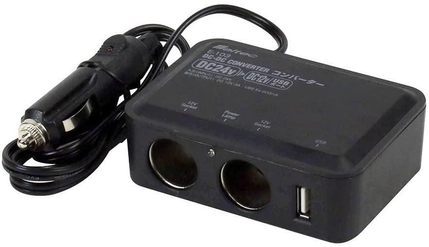 USBハブ 車 24V [ギフト/プレゼント/ご褒美] ソケット2口 3A 大自工業 500mA アクセサリーソケットタイプ E103 お金を節約 USB1口