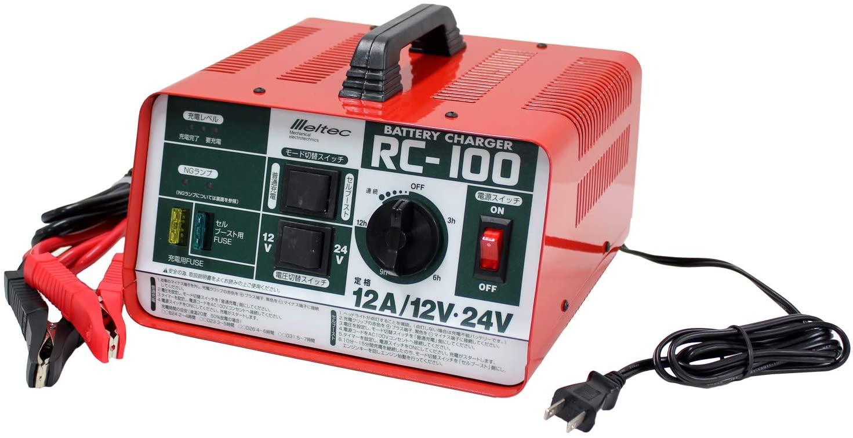 バッテリー充電器 12V 24V 定番の人気シリーズPOINT(ポイント)入荷 開放型バッテリー用 定格12A セルブースト タイマー機能付 チャージャー 農耕 RC100 大自工業 獣よけ Seasonal Wrap入荷 船舶