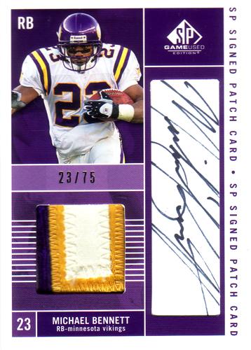 マイケル・ベネット NFLカード Michael Bennett 2003 SP Game Used Edition Signed Patch 23/75(ジャージナンバー!)