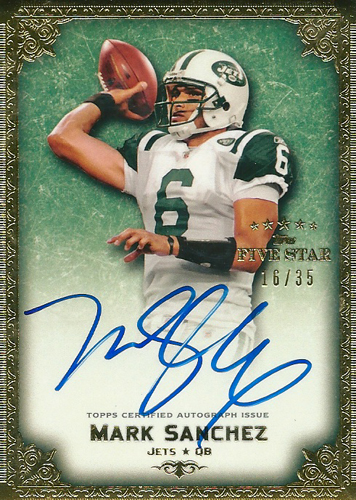 マーク・サンチェス NFLカード Mark Sanchez 2010 Topps Five Star Veteran Autographs Gold 16/35