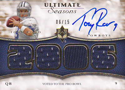 NFLカード【トニー ロモ】 2008 Ultimate Collection Ultimate Seasons Jersey Autographs 15枚限定!(06/15)(Tony Romo)