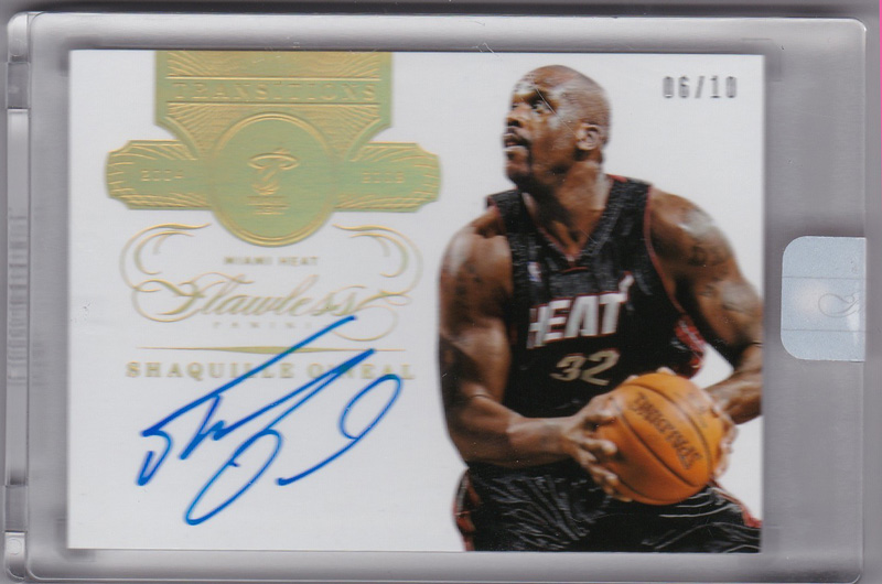Shaquille O'Neal 2013-14 Panini Flawless Transitions Autographs Heat 06/10