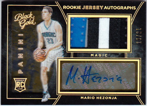 マリオ・ヘゾニャ 2015-16 Panini Black Gold Rookie Jersey Auto Patch 16/21 Mario Hezonja