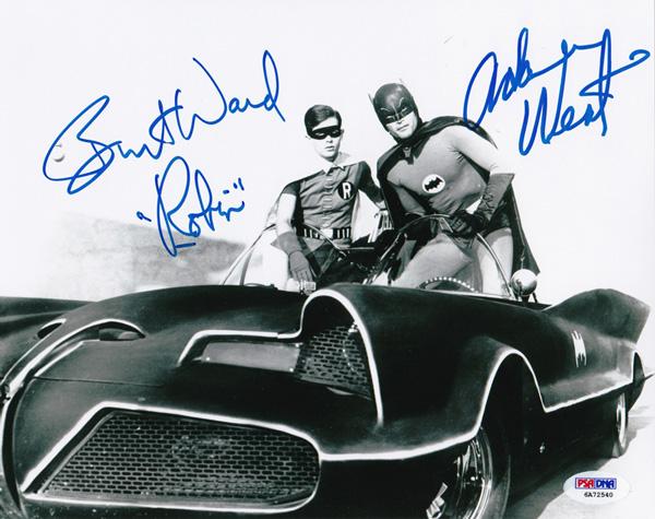 「バットマン」アダム・ウェスト(バットマン)&バート・ウォード(ロビン)直筆サインフォト B&W