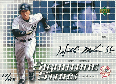 松井秀喜 MLBカード 2004 Upper Deck Signature Stars Black Ink 17/25