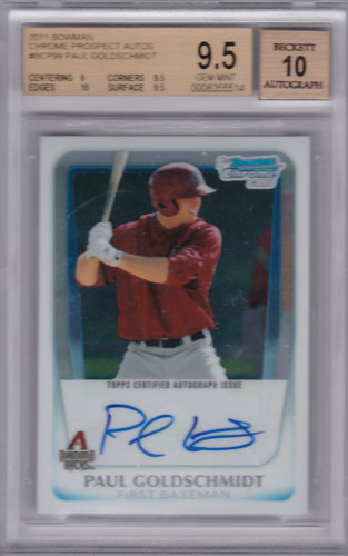 ポール・ゴールドシュミット 2011 Bowman Chrome Prospect Auto BGS9.5 Paul Goldschmidt