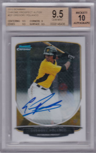 グレゴリー・ポランコ 2013 Bowman Chrome Prospect Auto BGS9.5 Gregory Polanco
