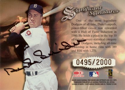 デューク・スナイダー Duke Snider 1997 Donruss Signature Significant Signatures 2000枚限定!