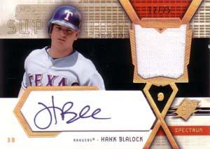 ハンク・ブレイロック Hank Blalock 2004 SPx Swatch Supremacy Signatures Young Star Gold 25枚限定!