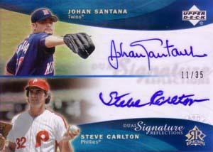 ヨハン・サンタナ スティーブ・カールトン Johan Santana/Steve Carlton 2005 Reflections Dual Signatures Blue 35枚限定!