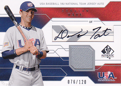 MLBカード【ドナバン テイト】2008 SP Authentic USA Junior National Team Jersey Autographs 120枚限定!(076/120)(Donavan Tate)