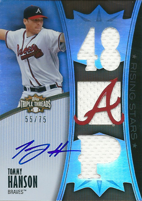 【トミー ハンソン】 2010 Topps Triple Threads Autograph Relics 75枚限定!(55/75) / Tommy Hanson