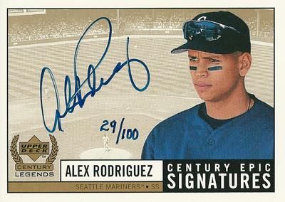アレックス ロドリゲス MLBカード 1999 UD Century Legends Epic Signatures Century 100枚限定!(029/100) / Alex Rodriguez