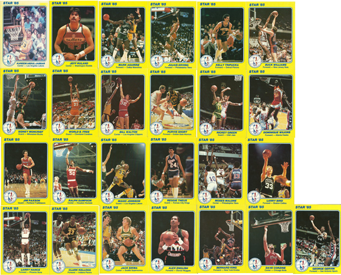 【大判カード】1985 Star 5x7 Court Kings #1~25 (25枚セット)
