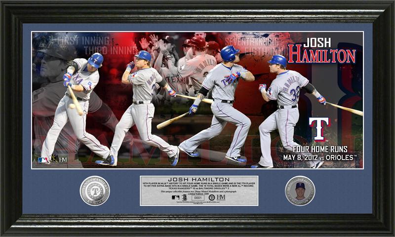 The Highland Mint (ハイランドミント) MLB ジョシュ・ハミルトン Josh Hamilton 4HR Panoramic Photo Mint 1試合4本塁打記念フォトプラーク