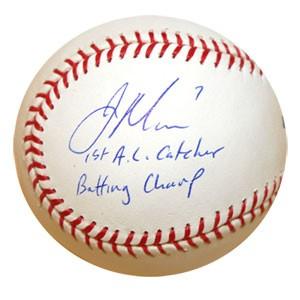 ジョー・マウアー 直筆サインボール 「1st AL Catcher Bat Champ」インスクリプション入り / Joe Mauer