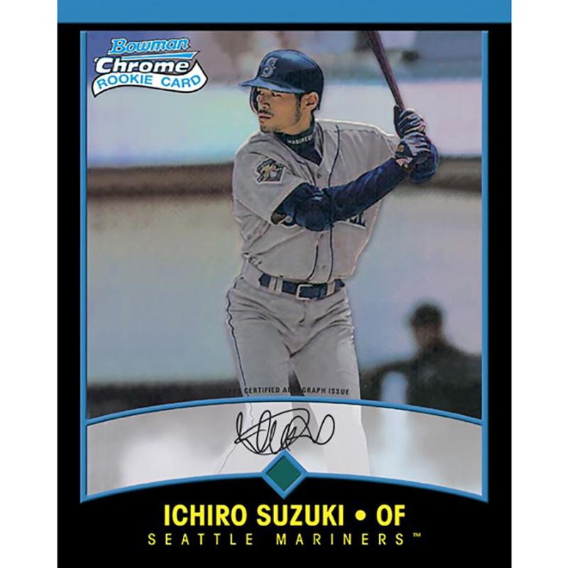 イチロー 2001 Bowman Chrome ルーキーカードデザイン 直筆サイン入り8x10フォト (Ichiro Suzuki Autographed 2001 Bowman Chrome Rookie 8X10 Jumbo Card) 3/30入荷予定!