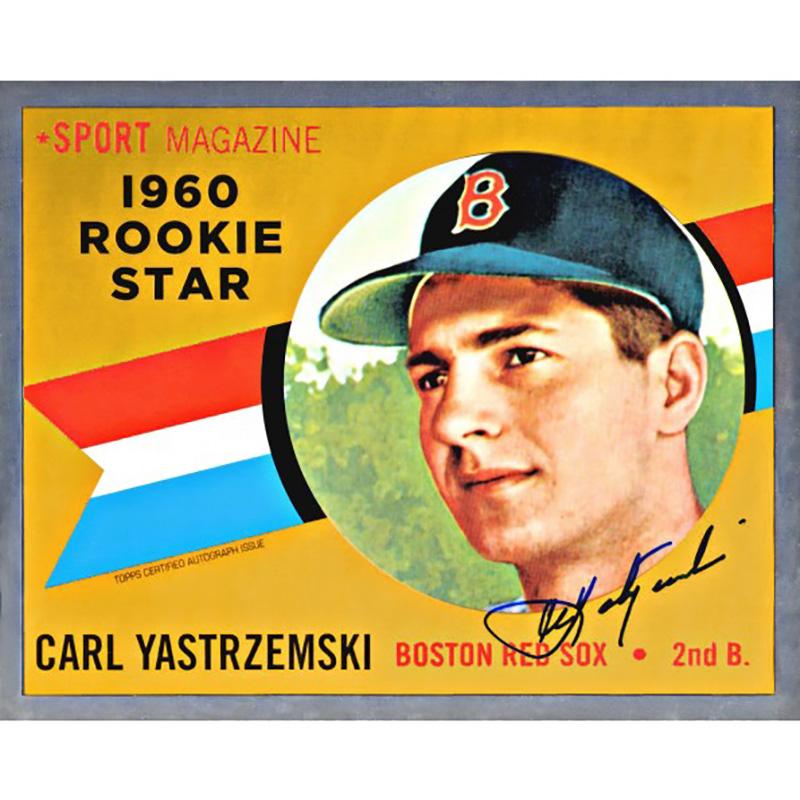カール・ヤストレムスキー 1960 Topps ルーキーカードデザイン 直筆サイン入り8x10フォト / Carl Yastrzemski Autographed Red Sox Jumbo Card - 1960 Topps Chrome Rookie Base 4/9入荷