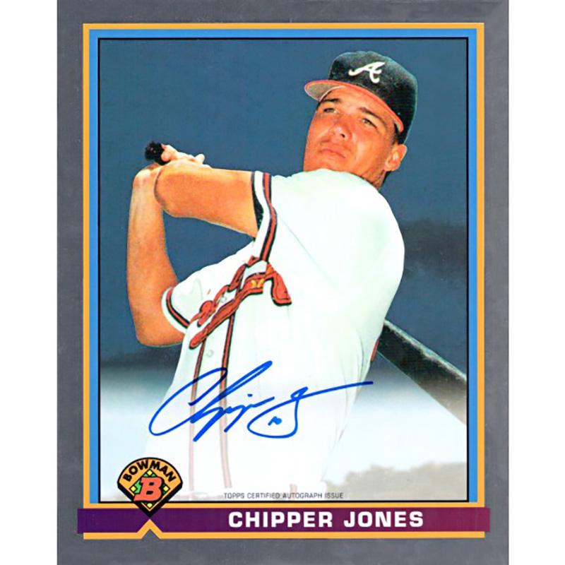 (予約)チッパー・ジョーンズ 1991 Bowman ルーキーカードデザイン 直筆サイン入り8x10フォト / Chipper Jones Autographed 1991 Bowman 8 X 10 Jumbo Card 3/30入荷予定