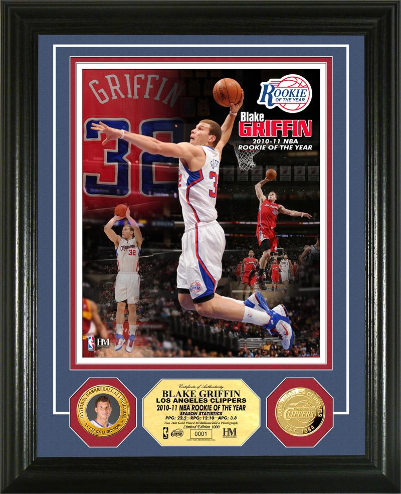 The Highland Mint (ハイランドミント) ブレイク・グリフィン 新人王記念フォトプラーク Blake Griffin 2010-11 NBA Rookie of the Year Gold Coin Photo Mint ★5/28入荷!
