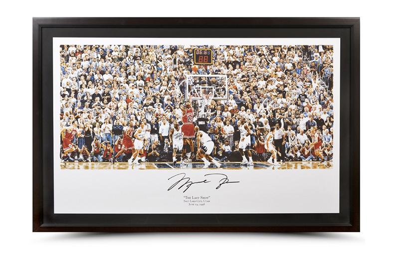 マイケル・ジョーダン 直筆サイン入りアートプリント額装 Michael Jordan Autoghraphed & Framed Last Shot Illustration Art Print 1/15再入荷
