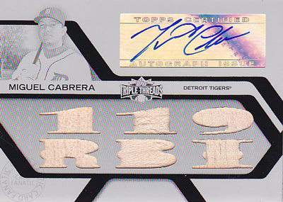 MLBカード【ミゲル カブレラ】2008 Topps Triple Threads Relics Autographs Printing Plate 1枚限定! / Miguel Cabrera