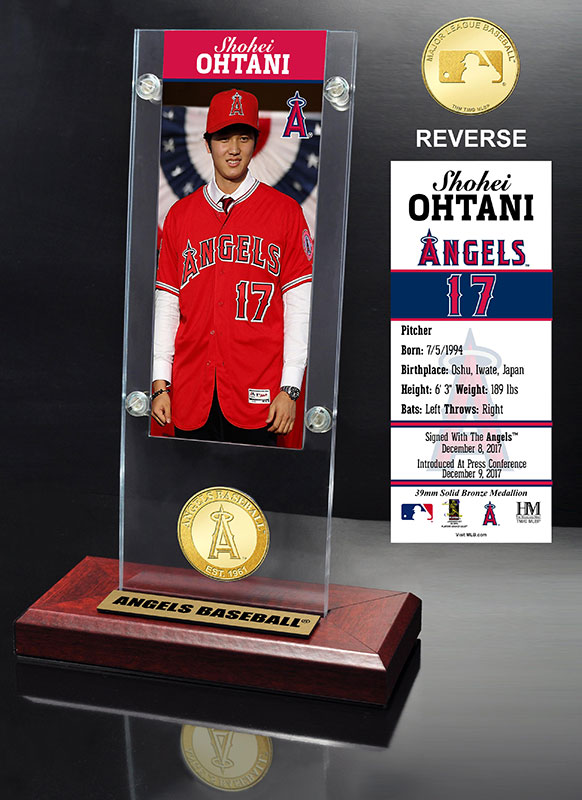 The Highland Mint (ハイランドミント) 大谷翔平 ロサンゼルス・エンゼルス コイン入りアクリルデスクトップ (Shohei Ohtani Angels Press Conference Ticket & Bronze Coin Desk Top Acrylic)