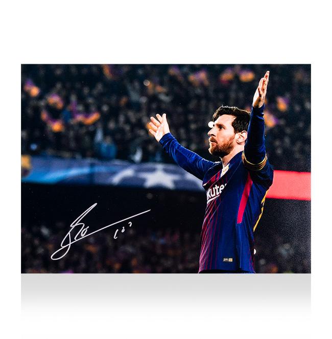 UEFA Champions FC Barcelona Photo: FC (Lionel 100th 100ゴール チャンピオンズリーグ Messi Signed バルセロナ Goal) Official 直筆サインフォト UEFA リオネル・メッシ League 12/19再入荷