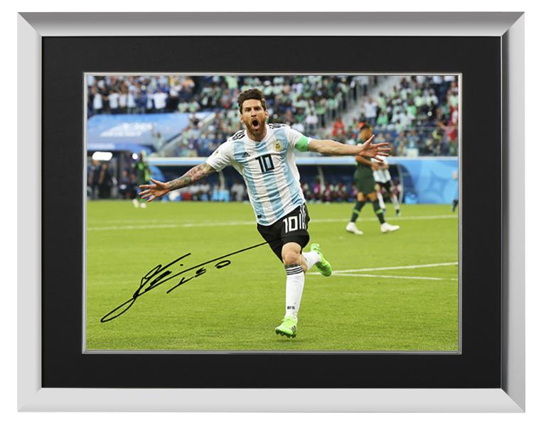 リオネル・メッシ 直筆サインフォト アルゼンチン代表 2018 FIFA ワールドカップ ゴール vs ナイジェリア 額装 (Lionel Messi Official Signed Argentina Photo: 2018 FIFA World Cup Goal vs Nigeria) 1/30入荷