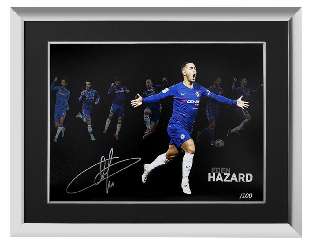 (予約)エデン・アザール チェルシー 100 ゴール 直筆サインフォト 額装 Eden Hazard Signed Chelsea Artwork: 100 Chelsea Goals 3月下旬入荷予定