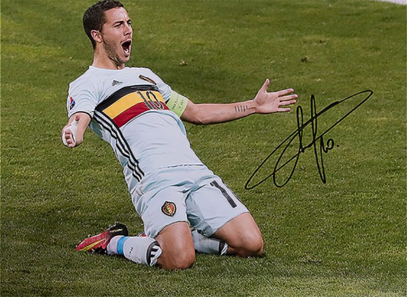エデン・アザール ベルギー代表 UEFA EURO 2016 ゴール vs ハンガリー代表 直筆サインフォト Eden Hazard Signed Belgium Photo: UEFA EURO 2016 Goal vs Hungary