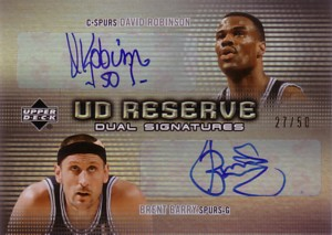 David Robinson/Brent Barry 2006/07 UD Reserve Dual Signatures 50枚限定!