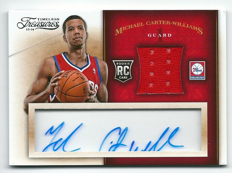 マイケル・カーター・ウィリアムス NBAカード Michael Carter-Williams 13-14 Panini Timeless Treasures Rookie Jersey Autographs