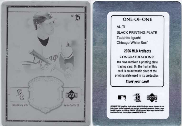 【1 of 1】井口資仁 2006 Upper Deck Artfacts Black Printing Plate Card