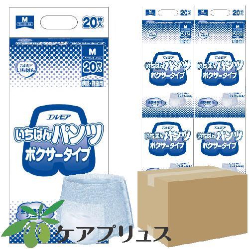エルモア【ケース売り】いちばんパンツボクサータイプ M(1袋20枚入・4袋)