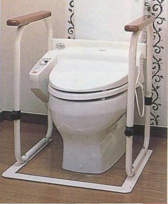 送料無料  トイレアームようすけ 床との設置面積が広く安定感があります てすりは高さ調節ができます