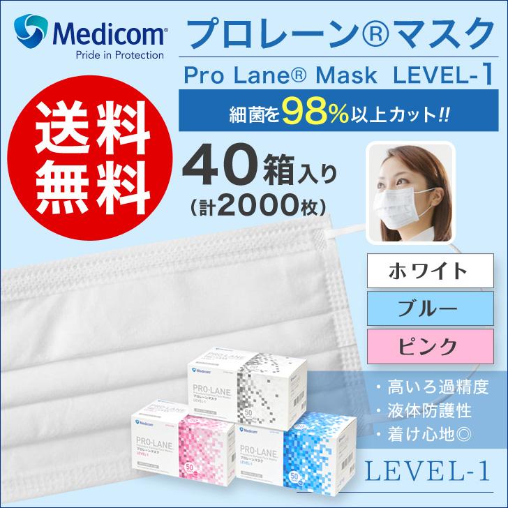 メディコム マスクプローレンマスク1ケースセット(40箱入り)メディコム マスク【LEVEL-1(レベル1)】