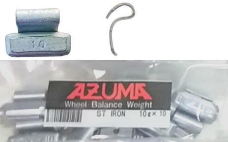 スチールウエイト鉄製打ち込みウエイト10g 1袋10個入 AZUMA打ち込みスチールホイール用ウエイト AZUMA打ち込みスチールホイール用ウエイト四輪小型 公式 JATMA TRA 普通車 卓抜 ETRTO規格ホイール適合品