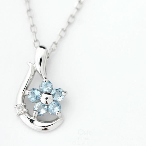 【送料無料】[ Friedrich von Hardenberg ]フラワーモチーフ・天然ダイヤモンド×ブルートパーズネックレス【発送目安:2~3週間】【n】