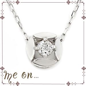 【送料無料】【me on...】シンプルな輝きを胸元に◆K10ホワイトゴールド(WG)シンプル・天然ダイヤモンド(0.07ct)ネックレス【発送目安:2~3週間】【n】