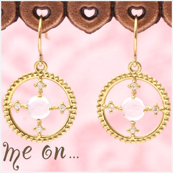 【送料無料】【me on...】K10イエローゴールド・ブルートパーズ×ダイヤモンド・オリエンタルフックピアス【発送目安:2~3週間】【P】