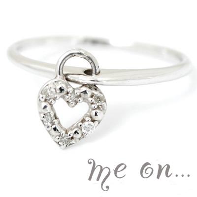 【送料無料】【me on...】6つの天然ダイヤモンドを秘めたハートチャーム。ときめく胸★18金(K18)天然ダイヤモンド・ハートチャーム付ピンキーリング【発送目安:2~3週間】【r】