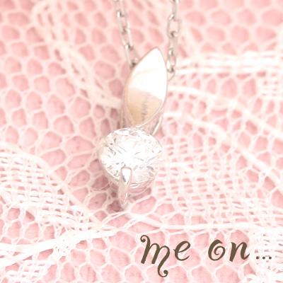 【送料無料】【me on...】華奢な葉にこぼれおちる天然ダイヤモンドの雫◆プラチナ(Pt900)・リーフモチーフ・シンプル天然ダイヤモンド・ネックレス【発送目安:2~3週間】【n】
