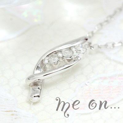 【送料無料】【me on...】高級感のあるウェーブライン。18金(K18)ホワイトゴールド3連天然ダイヤモンドネックレス【n】