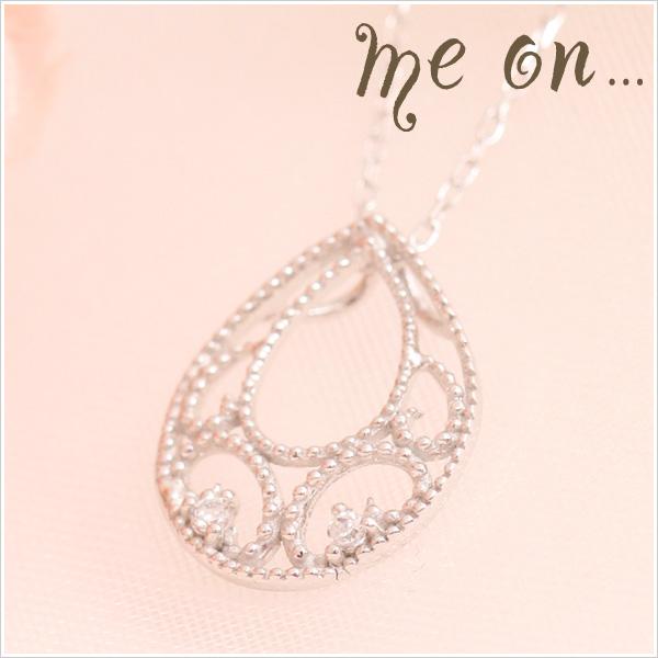 【送料無料】【me on...】K10ホワイトゴールド・ドットのラインがモダンなイメージに月の雫モチーフの天然ダイヤモンドネックレス【発送目安:2~3週間】【n】