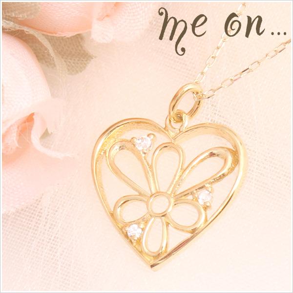 【送料無料】【me on...】K10イエローゴールド・ハートに描かれた一輪の花、ハート&花モチーフ天然ダイヤモンドネックレス【発送目安:2~3週間】【n】