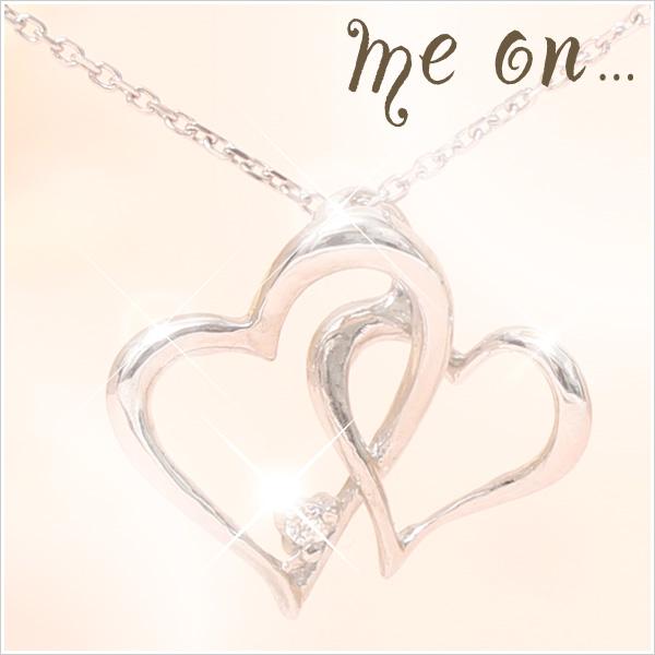 【送料無料】【me on...】K10ホワイトゴールド・天然ダイヤモンド・ダブルハートデザインネックレス【発送目安:2~3週間】【n】