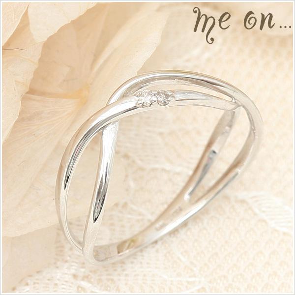 【送料無料】【me on...】波打つダブルクロスK10ホワイトゴールド(WG)天然ダイヤモンドリング【発送目安:2~3週間】【r】