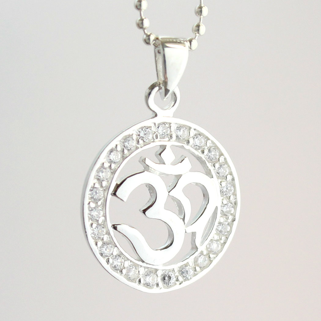 Tibet OM Omoo Buddha's preach about truth mantra pendant silver 925  zirconia lucky charm talisman against evil